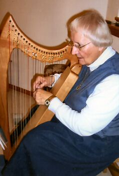 Sister Mary Ellen Hanson Playing her angel harp.